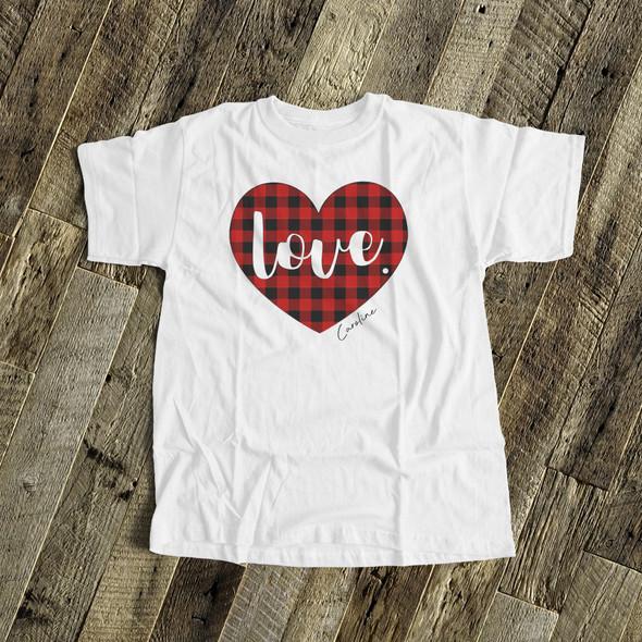 Valentine love red buffalo plaid heart YOUTH Tshirt