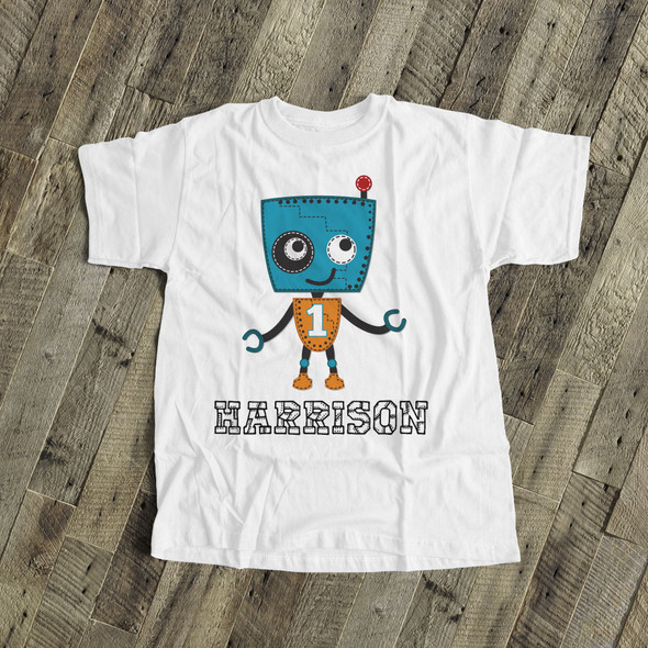 Birthday shirt robot boy any age personalized Tshirt