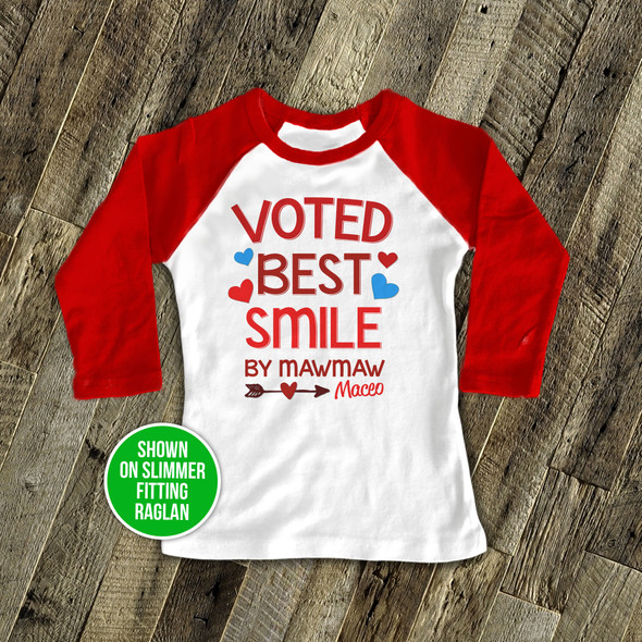 Voted best smile personalized raglan shirt