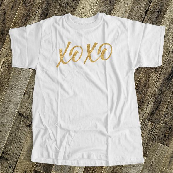 Valentine xoxo gold glitter or foil  ADULT Tshirt