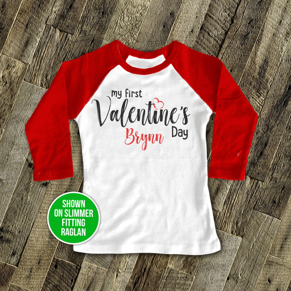Valentine's Day baby's first raglan shirt