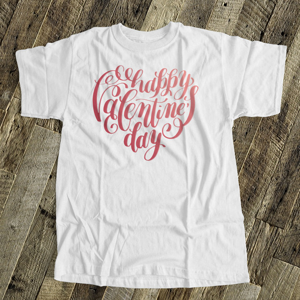 Happy Valentine's Day heart gradient or plaid text adult Tshirt