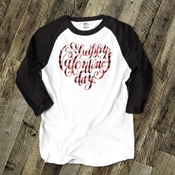 Happy Valentine's Day heart gradient or plaid text unisex adult raglan shirt