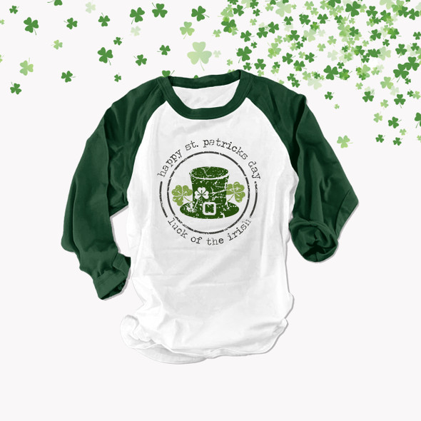 St. Patrick's Day luck of the irish adult unisex raglan shirt