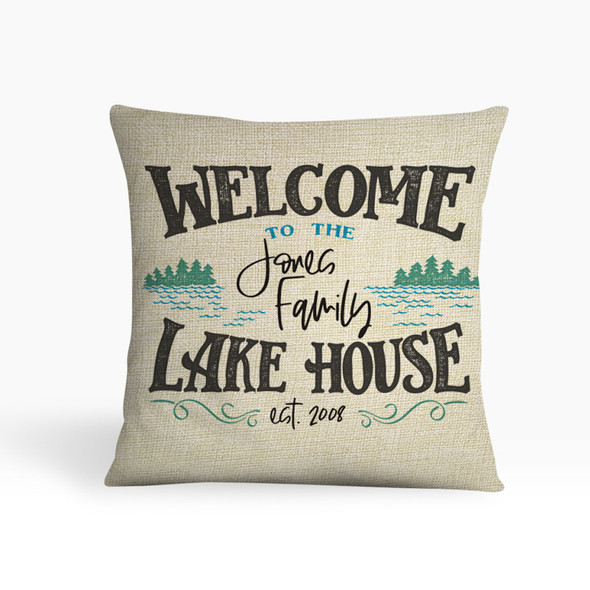 Welcome to the lake house personalized pillowcase pillow