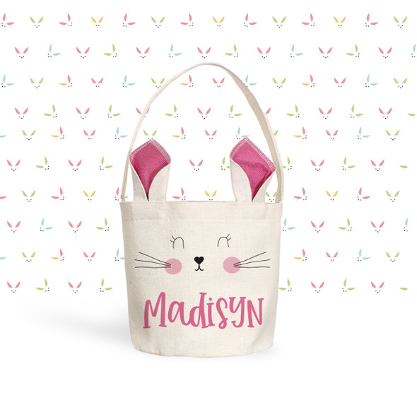 Easter basket pink bunny ears personalized easter bunny bag