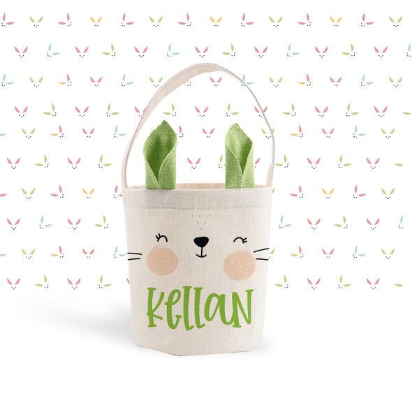 Easter basket green bunny ears personalized easter bunny bag