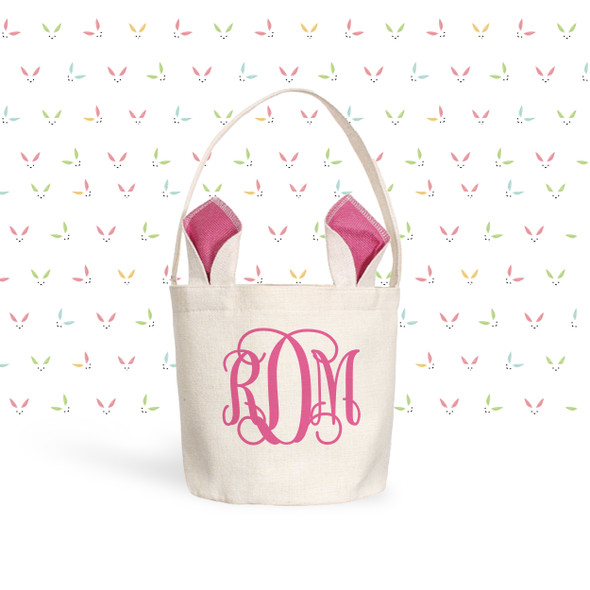 Easter basket pink, blue or green bunny ears monogram easter bunny bag