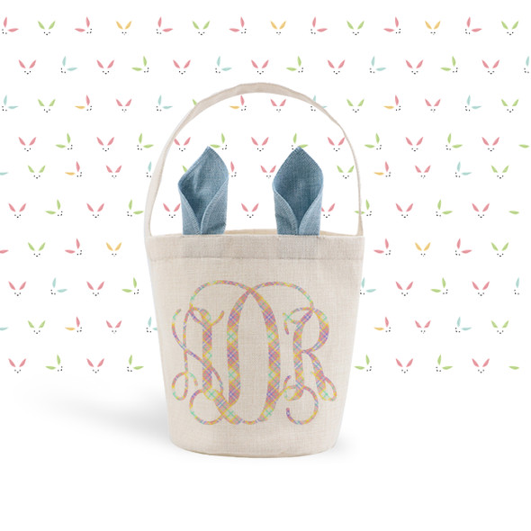 Easter basket pink, blue or green bunny ears plaid monogram easter bunny bag