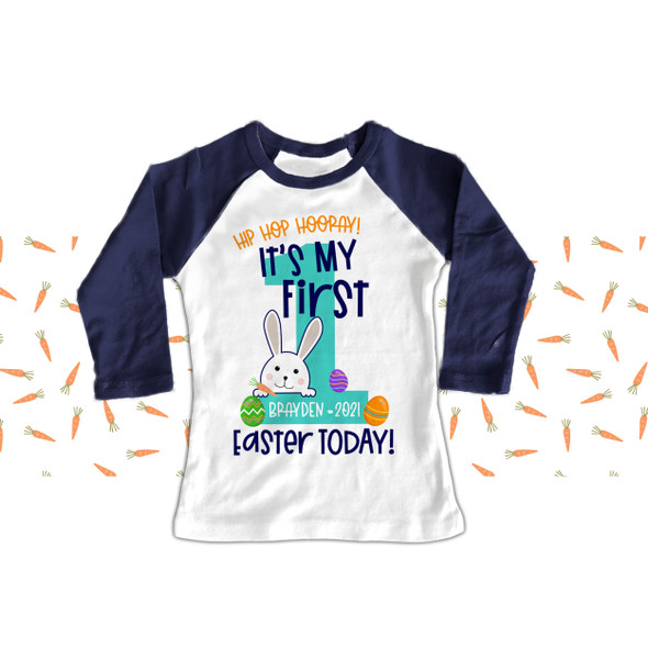 Easter bunny hip hop 1st Easter RAGLAN shirt
