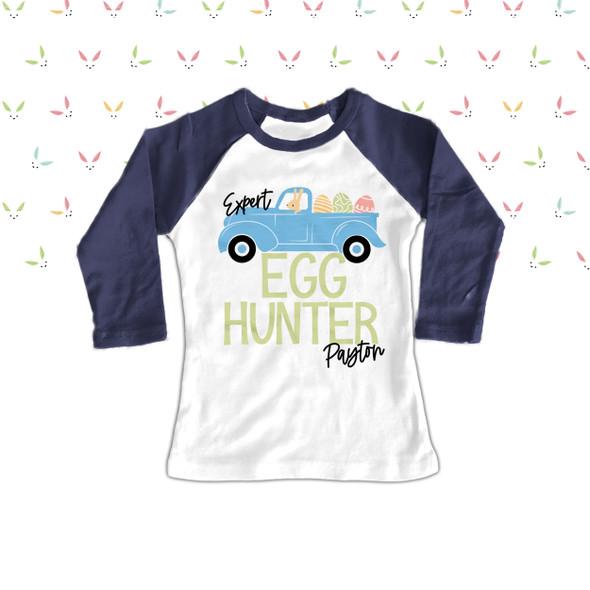 Easter egg hunter boy personalized raglan shirt