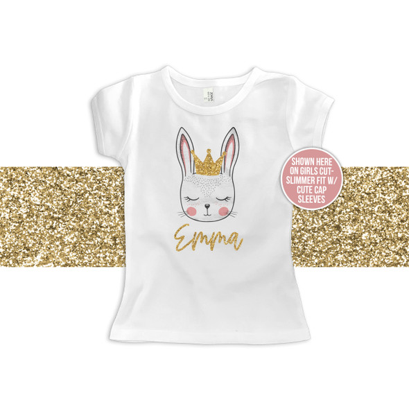 Girl Easter bunny face gold glitter personalized Tshirt