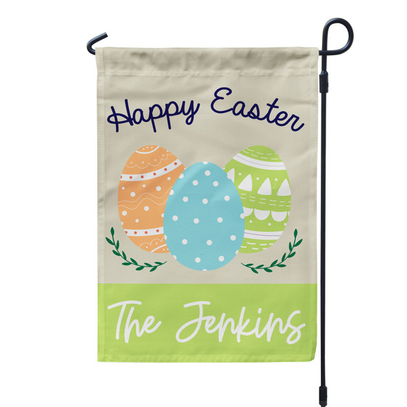 Happy Easter easter eggs personalized garden flag with stand option