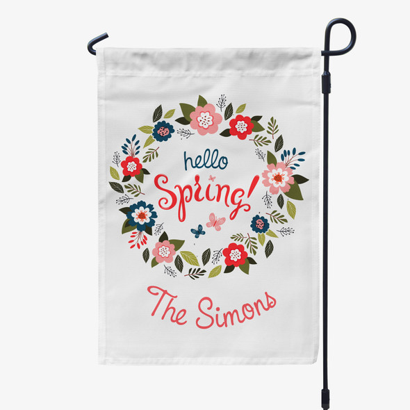 hello Spring floral wreath personalized garden flag with stand option