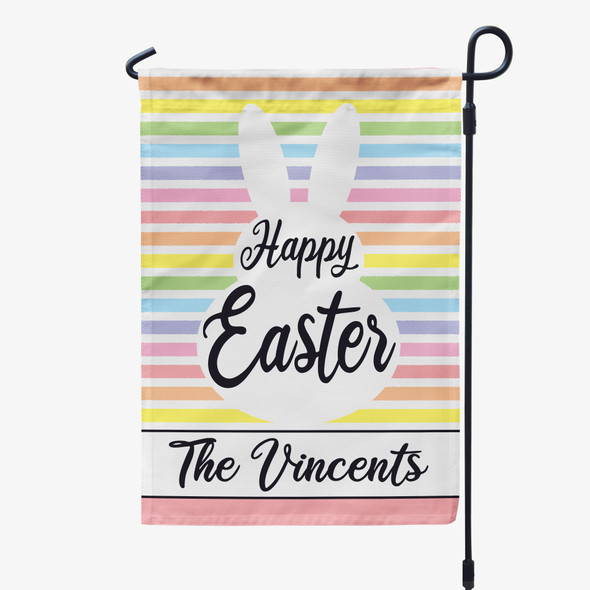 Happy Easter bunny personalized garden flag with stand option