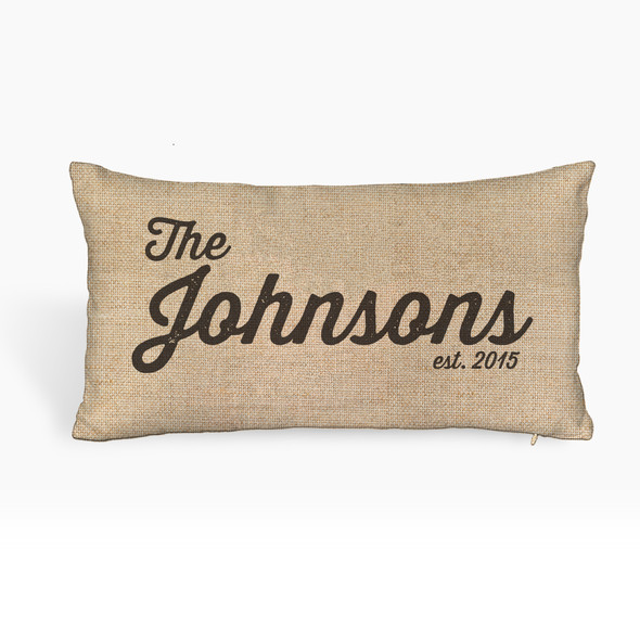 Family name personalized faux burlap lumbar throw pillowcase pillow