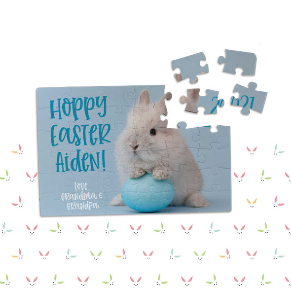 Hoppy Easter personalized blue puzzle