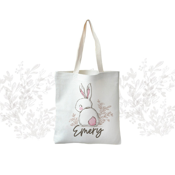 Girls Easter Bunny egg hunting linen textured tote bag