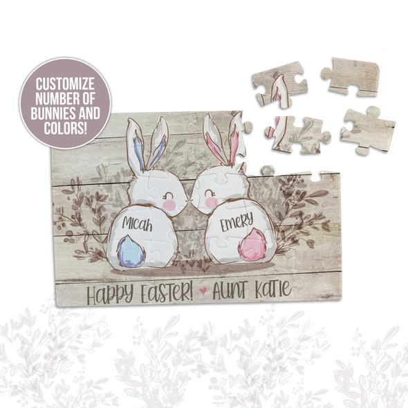 Happy Easter boy or girl bunnies personalized puzzle