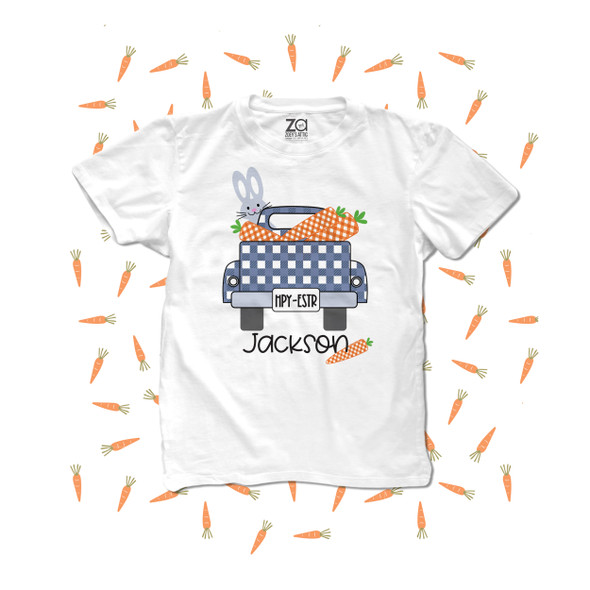 Boy Easter bunny truck carrots personalized Tshirt