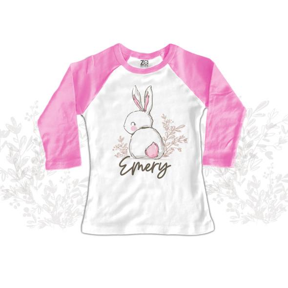 Easter girl sweet bunny pink cottontail raglan shirt