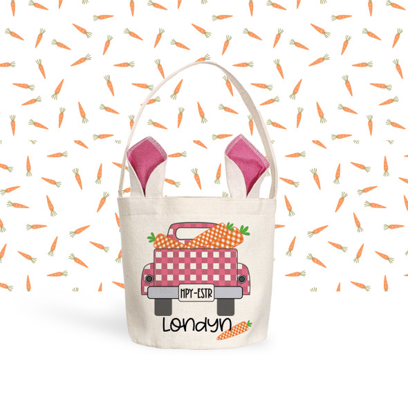 Easter basket pink ears girl bunny truck carrots personalized easter bag