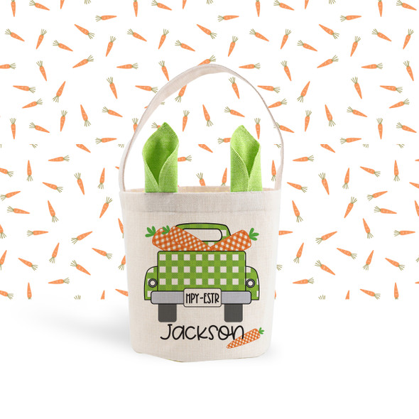 Easter basket green or blue ears boy bunny truck carrots personalized easter bag