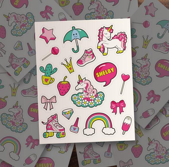 Girl personalized vinyl sticker pack