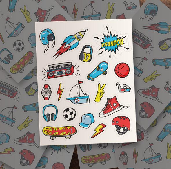 Boy personalized vinyl sticker pack