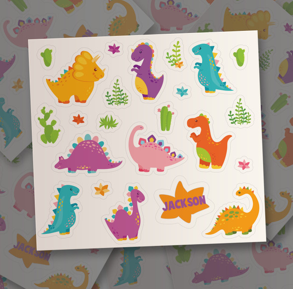 Dinosaur personalized vinyl sticker pack for boys and girls