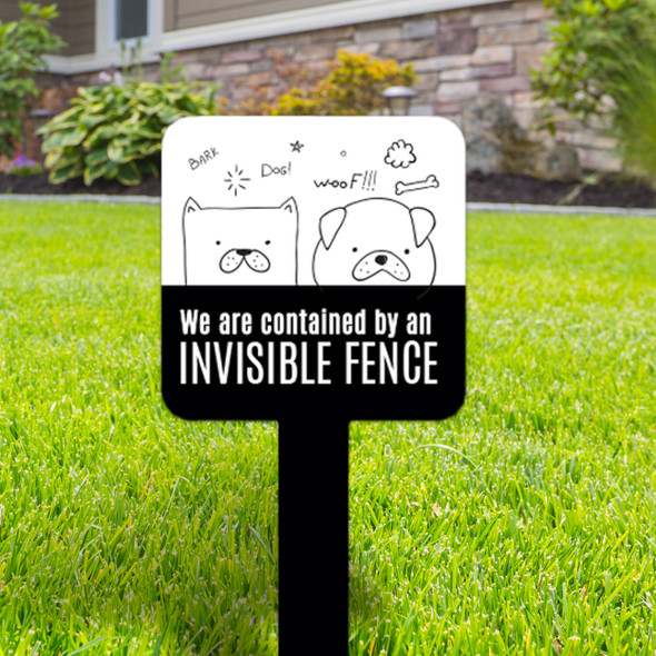 Pet dogs contained  by invisible fence small square aluminum yard sign
