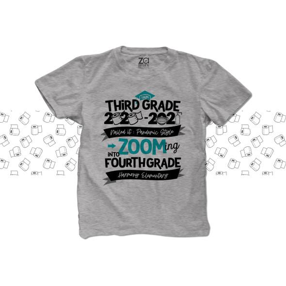 Third Grade quarantine style zooming into fourth grade Tshirt