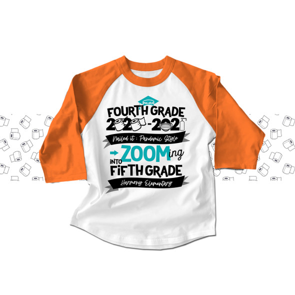 Fourth grade quarantine style zooming into fifth grade completion raglan shirt