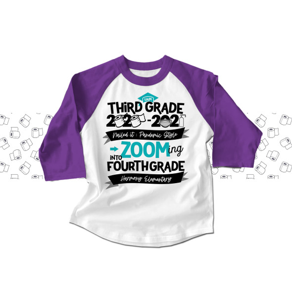 Third grade quarantine style zooming into fourth grade completion raglan shirt