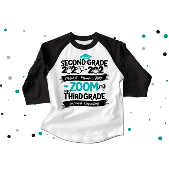 Second grade quarantine style zooming into third grade completion raglan shirt