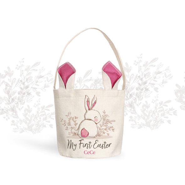 My First Easter basket sweet bunny girl personalized easter bag