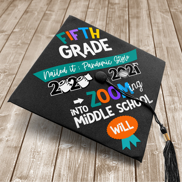 Fifth grade pandemic style zooming into middle school custom vinyl youth graduation cap
