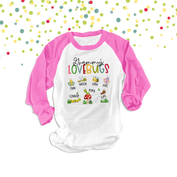 Grammy's lovebugs unisex adult RAGLAN shirt