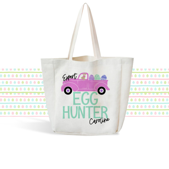 Girls Easter Bunny egg hunting linen textured tote bag bunny truck