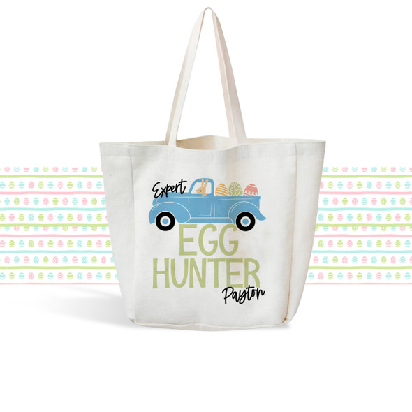 Boys Easter Bunny egg hunting bunny truck linen textured tote bag