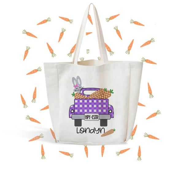 Girls truck easter bag cute bunny truck egg hunting bag reusable easter egg bag