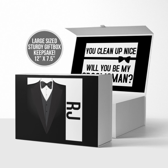 Groomsman best man tuxedo will you be my proposal gift box