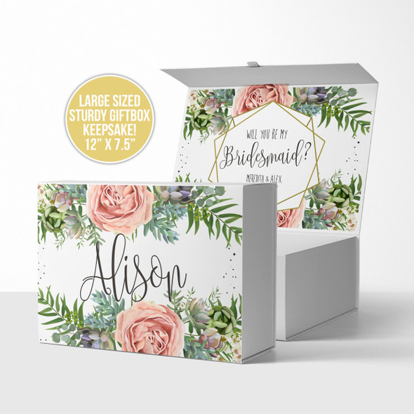 Bridesmaid floral will you be my proposal gift box
