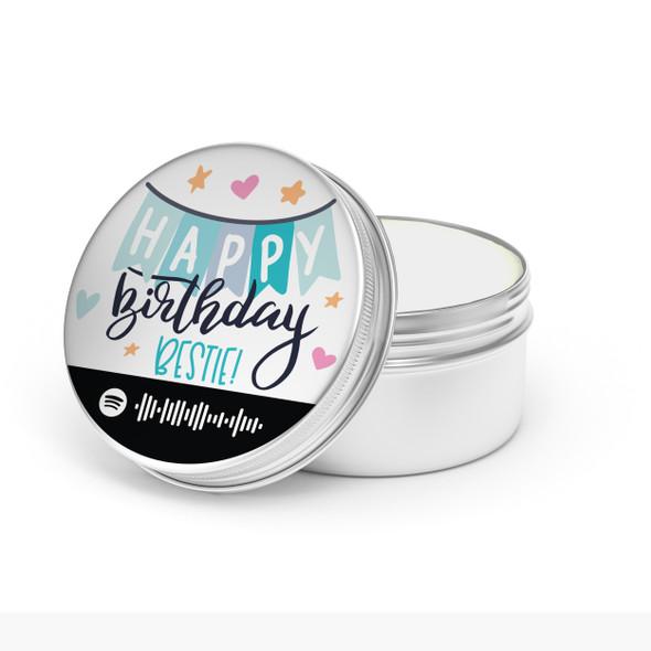 Happy Birthday bestie spotify playlist code soy blend wax candle tin