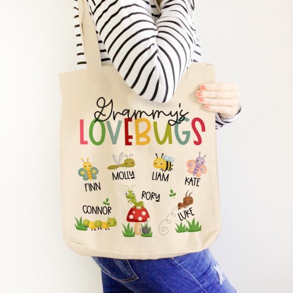 Grammy's lovebugs tote bag