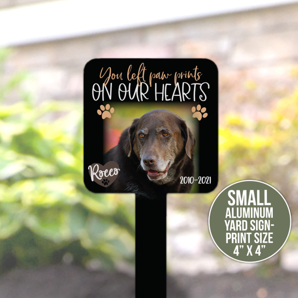 Pet photo memorial paw prints on our hearts personalized garden sign