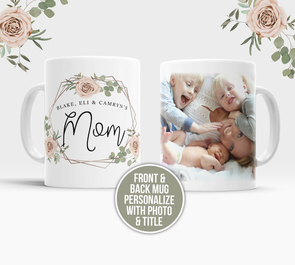 Mom with children photo personalized front and back floral tea coffee mug