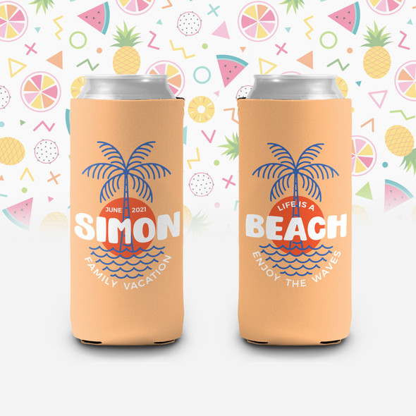 Family vacation life is a beach personalized slim or regular size can coolie