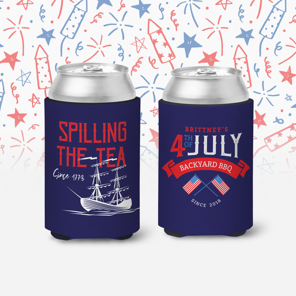 4th of July backyard BBQ spilling the tea personalized slim or regular size can coolie