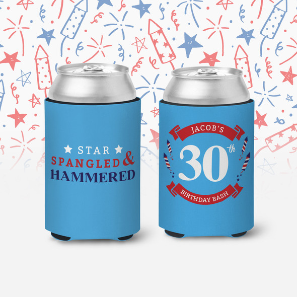 30 birthday party star spangled & hammered birthday bash personalized slim or regular size can coolie